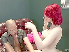 Red haired Shemale Sarina Valentina with giant boobs