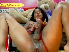 BBW ebony latina jerks her big cock and plays with dildo on webcam
