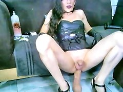 Shemale tranny using anal toys on kinky tgirl