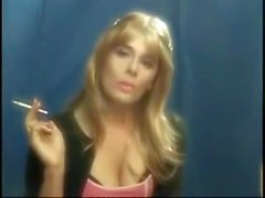 Elegant blonde Sissy smoking
