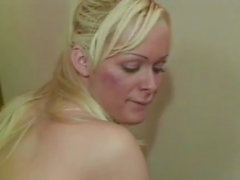 Flat chested blonde cutie has her tranny ass doggy styled
