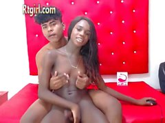 Sexy ebony shemale babe gets fucked hard anally