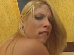 Blonde busty shemale loves cock