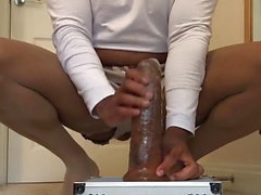 Sissy monster dildo training