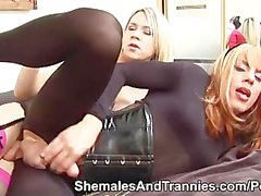 Shemales Karla and Zoe fuck on the bed