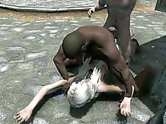 3D Tgirl Elizabeth vs Black Dude
