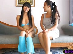 Young looking ladyboy interview and solo dick play