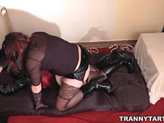 Femdom wife with tgirls and crossdressers
