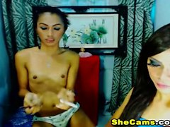 Two Horny Shemales Sexy Strip Teasing on Cam