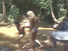 Gorgeous brazilian blonde fucking at the river..