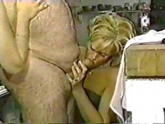 Old cock sucked by two young blondes