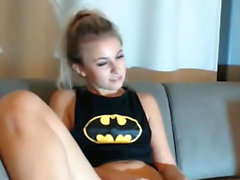 BatGirl Strips Fingers & Sucks Dick On Cam