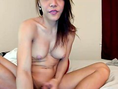 Nice Shemale With Big Tits Solo Wanking