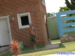 Teasing amateur tgirl pounded outdoors