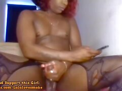 Hot Ebony Shemale Rubbing Her Cock
