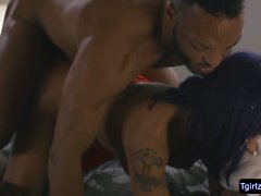 Busty tattooed Ts Foxxy sneaks and fucks black stud Dillon Diaz bbc