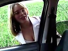 Beautiful blonde tranny seduces a hunky businessman