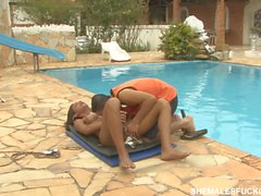 Leticia drills pool boy passionately