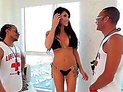 Bigtitted glam ladyboy spitroasted in trio