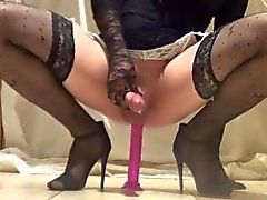 Multiple cum in stockings fucking dildo no hands
