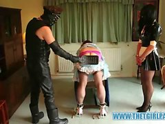 Naughty TGirl maids get bondage and spanking punishment after being caught playing together