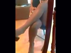 Brown 'No Nonsense' Pantyhose Crossed Legs & Dangle Tease