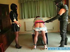 Naughty TGirl maids get bondage and ass spanking punishment