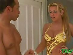 Tranny gets hardcore pounding by pool