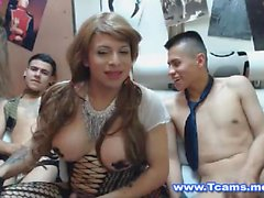 One Tranny Two Guys in a Hot Groupsex