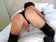 Sexy shemale Sienna Grace in black lingerie anal pounded