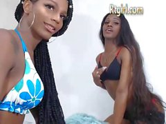ebony shemale and her female friend dance on cam