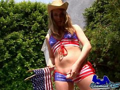 Teen trannie with rodeo hat gives herself a handjob outdoor