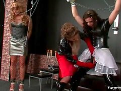 Sissy guys bound by mistress in latex