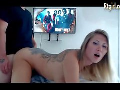 full tattooed blonde milf shemale riding young cock on cam