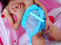 Lovely Asian TS Annie hand pleases her healthy shecock