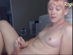 American cute femboy with a thick cock and a curvy body jerking on webcam