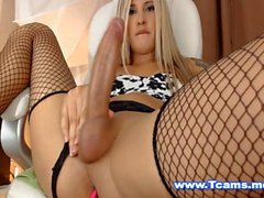 Hot Shemale Babe Jerking in Hot Fishnet
