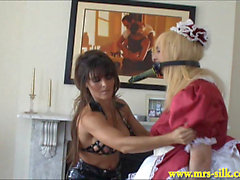 Beautiful Mistress fucks sissy maid with a bottle