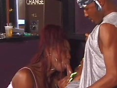Chocolate tgirl takes him from behind