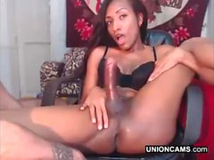 Amateur ebony sex with black shemale