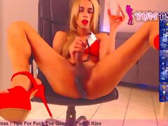 high heels French transgirl in christmas lingerie jerks off big cock