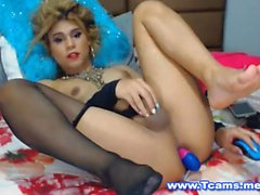 Blonde Tranny Babe Sensually Plays Her Ass and Cock