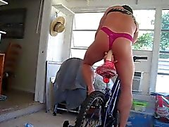 Pantyboy2010 Rides Big Dildo while Riding his Bicycle