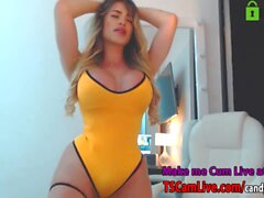Hot Curvy Blonde Shemale with Lovense Dildo Deep in her Ass Live on Webcam, Part 1