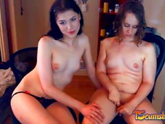 Sexy brunette tgirl couple playing online