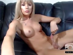 Beautiful blonde tgirl jerks dick webcam