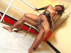 black tranny sucks a big black dick