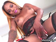 Drag queen Tgirl Amanda touches her body jacking her black prick