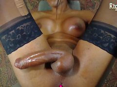 big boobs ebony tranny in stocking jerking her big balck cock pov webcam