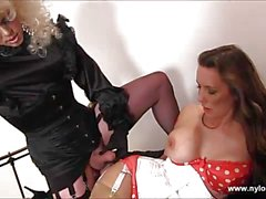 Horny tranny wanks off and cums in hot busty Milfs face